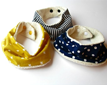 ORGANIC sherpa teething Drooling scarf Baby Bib set of 3