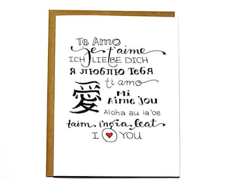 I love you languages - Valentines Day card, Anniversary card, Wedding card