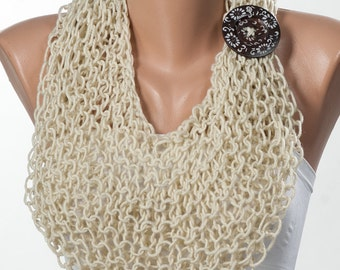CREAM  Knitting Scarf. New Neck Warmer. Trend Scarf. Mothers Day scarf.