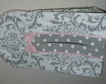 Diaper Stacker, Custome made,  Gray Damask, Light Pink, Gray Polka Dot