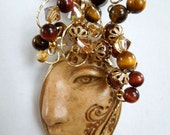 Natural Tan Polymer Clay Carved Face Wire Wrapped Pendant E2239j