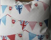 "Union Jack floral bunting gingham lace eyelet in pink blue cream polka dots pillow 18""x18"""
