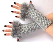 SALE - 50%OFF. Knit Fingerless Gloves. Gray Long Gloves. Wrist Warmers. Arm Warmers. Knit Gloves. Women Gloves. Hand Knit Gloves.