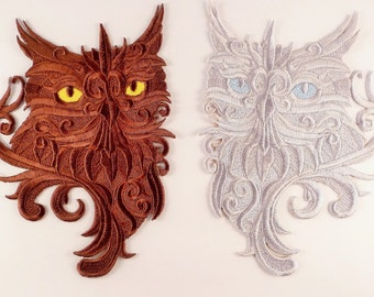 Embroidered Baroque Owl Motif/Patch/Badge/Applique - Lots of Colour Choices