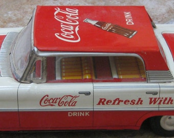 Refresh w Zest Coke Friction Toy 1960 Authentic Near MINT in ORIGINAL BOX Car Vintage Retro 1960 Coca Cola Ford Friction Car