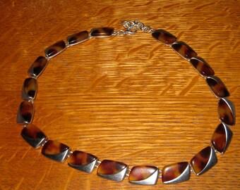 Retro Chrome Necklace Signed AK Jewelry Vintage Silver Tone w Lucite Art Deco Revival Choker Necklace