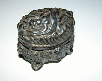 Art NOUVEAU Cherub Box Authentic 19th Century Pot Metal Miniature Ring Presentation Box w Cherub Detail