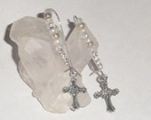 Religious handmade cross charm earrings; Rhinestone jewelry; Spritual Czech seed beaded jewellery