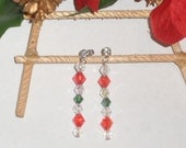 Dangling Christmas Swarovski beaded earrings; Dangling jewelry; Rhinestone faceted earrings