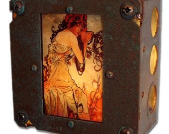 "Art Nouveau Night Light Alphonse Mucha Industrial Chic ""Summer"""