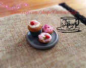 Miniature pastries magnetic Play set , cupcake , gourmet donuts and platter . Polymer clay collectible art. Play food for toys & doll house