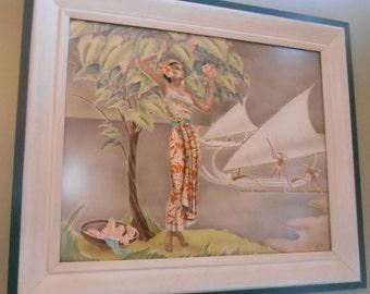 Rare Gill Hawaiiana airbrush original painting, framed, Art Deco, woman, lei blossoms, boats, tropical, collectible, 1930's-'40's