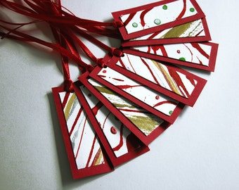 Red white and gold gift tags  -- modern abstract Christmas / set of eight with ribbons / hand painted / GT-122