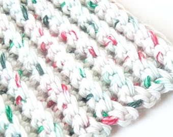 Christmas speckeled  ribbed white dish or wash cloth set