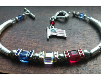 Red White And Blue American Flag Charm Bracelet