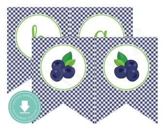 INSTANT DOWNLOAD Blueberry Happy Birthday Banner (Blueberry Birthday, Blueberry Banner, Blueberry Party, Printable Happy Birthday Banner)