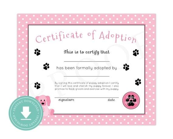 Instant Download Puppy Adoption Certificate Puppy