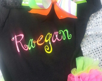 Onesie only with name and chiffon ruffles