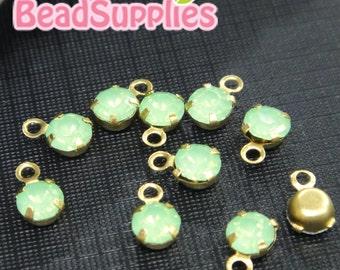 RS-CH-01007- Petite round Rhinestone dangling charm, green opal, 20 pcs