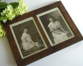 Antique 1900s Framed Double Photos Gibson Girl Style Lady