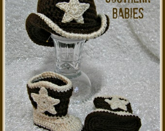 Cowboy Hat and Boots - Newborn to 12 Months