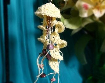 Crochet Lace Jellyfish Earrings - Saffron