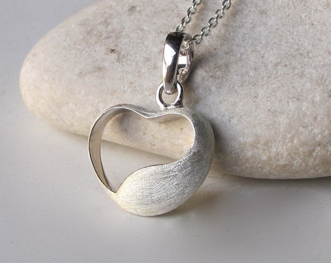 Organic HEART Necklace- Silver Heart Necklace- Heart Shaped Necklace- Heart Necklace- Classic Necklace- Everyday Necklace- Charm Necklace