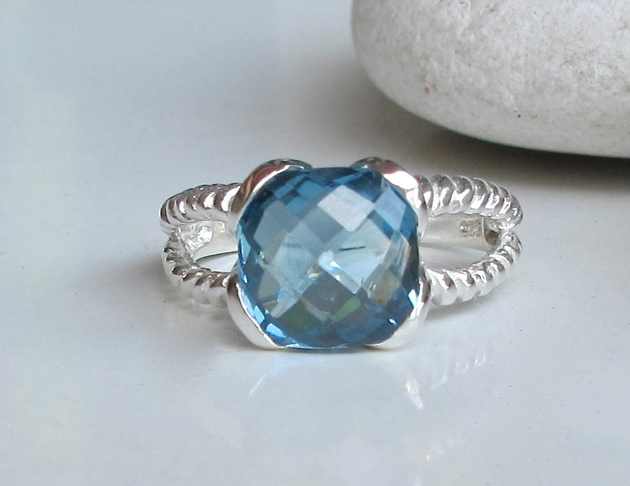 blue topaz ring promise ring blue gemstone ring by