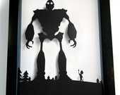 Iron Giant and Hogarth silhouette handcut papercraft