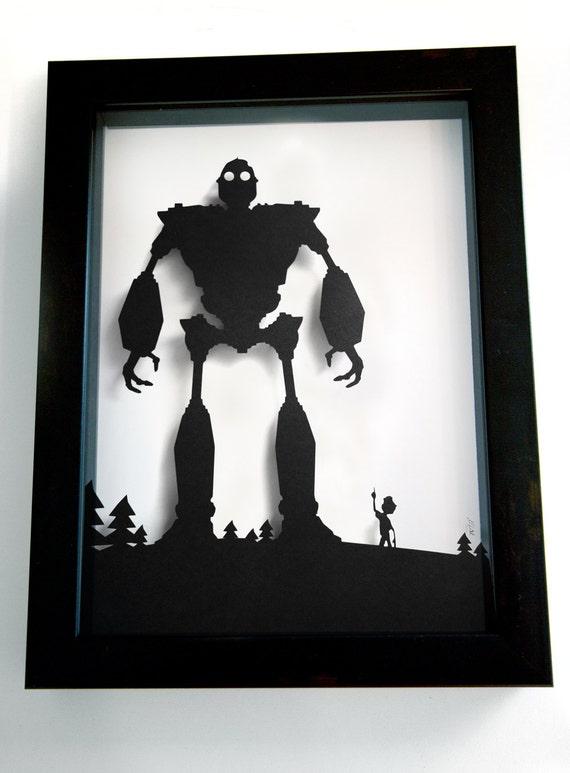 Iron Giant and Hogarth shadow cut - handmade paper shadow box wall art decor papercraft best friends artwork