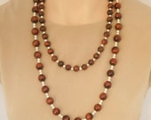 Tiger's Eye and Freshwater Pearl Necklace