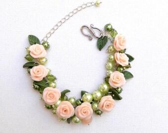 Flower Bracelet, Wedding Jewelry, Romantic Bracelet, Statement Bracelet, Pearl Bracelet, Peach Jewelry, Wedding Bracelet, Roses, Floral