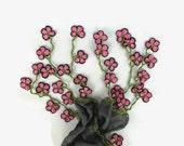 Gray Silk Scarf with Turkish  crochet Flower Oya Edges , Gray silk  Foulard, Womens gray Scarflette, gray cowl