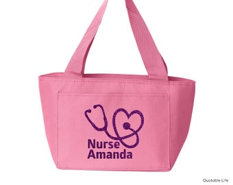 Nurse Stethoscope Name Personalized Insulated Lunch Cooler Tote // Solid or Glitter Vinyl