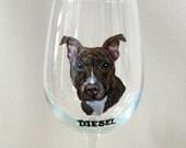 Pitbull, Wine Glass, Custom Pet Portrait, Pet Loss Memorial, Rescue Dog, Painted Glassware, Dog Art, Personalized Pet, Wine Dog