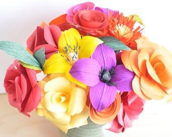 Bright Paper Flowers Paper Flower bouquet, Valentine's Day Bouquet, Paper flower arrangement