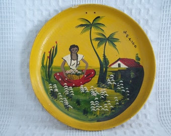 Hand painted wooden dish, small wood plate or bowl, yellow gold, woman in garden scene palm tree, casa house Mexico, hang on wall or display