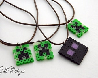 MINECRAFT inspired Creeper Enderman Necklace; Glow in the Dark; handmade adjustable; necklaces for children kids; Video game lover
