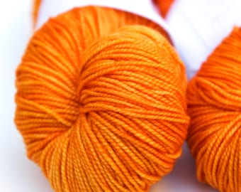 "Hand Dyed Yarn // Curious Sock (100% sw merino, fingering weight) // ""Fresh Squash"""