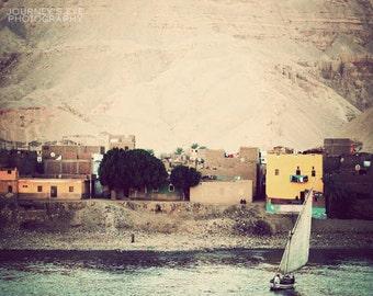 Clearance Sale - Landscape photography, Egypt photo, travel photograph, fine art, exotic, Egyptian art, neutral decor - Nile Village