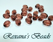 Fluted Oval Rust Acrylic Beads- Set of 52