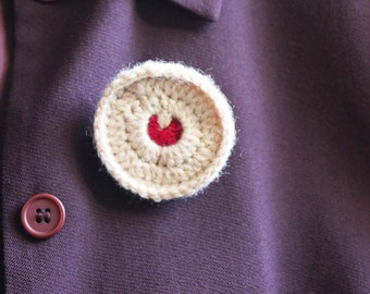 """Crochet Brooch """"Jammy Dodger"""" biscuit style. 1 item only. Wearable Fiber Art. Collectable geekery. NOT a toy. FREE SHIPPING everywhere."""