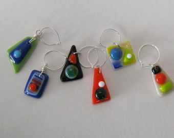 Fused Wine Glass Charms - Set of 6 (WC006)