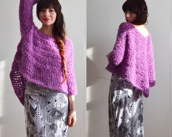 Knit sweater / Fuzzy Tunic Sweater / Loose knit | Chunky Knit sweater | Tunic | Jumper | Back to school Fashion | Handmade Sweater | Purple