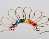 Crystaletts Pins - Jeweled Stitch Markers - 16 pc Set Gold Finish