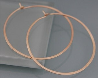 "1 1/2"" SOLID 14K Yellow Gold Brushed Satin Finish Hoops Recycled Eco-Friendly"