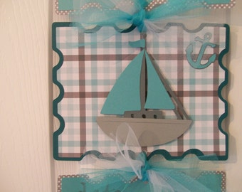 Nautical Baby Boy Hospital Banner - Nautical Baby Boy Decoration - Sailboat Baby Boy Birth Announcement- 3 cards