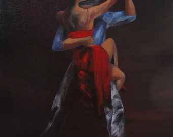 """Red Dresses - Tango Dance Art Print - """"Lady in Red #12"""" - Acrylic Painting by Lorraine Skala"""