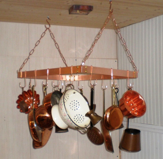 18 X 24 Inch Hanging Solid Copper Pot Rack With 16 Hooks And
