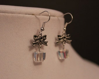 Very Elegant Silver Clear AB Crystal Dangling Present Earrings